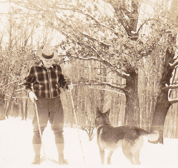Grandpa in Snowshoes German Shepherd 1920s by EphemeraObscura