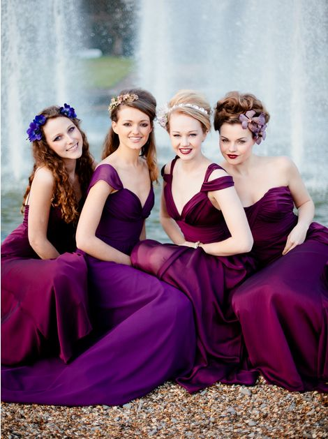2014 wedding color trend is radiant orchid. These bridesmaids are wearing a bold side of the color. #purple #bridesmaiddresses    Photography: Eddie Judd
