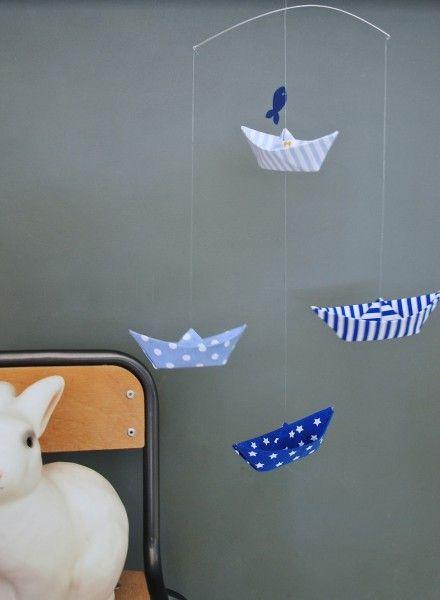 Mobile petits bateaux Bleu