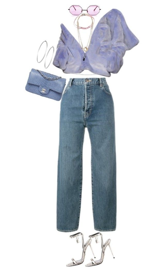 """""""Untitled #100"""" by m0on ❤ liked on Polyvore featuring Anne Sisteron, Levi's, Balenciaga, Chanel, Tom Ford and Jennifer Fisher"""