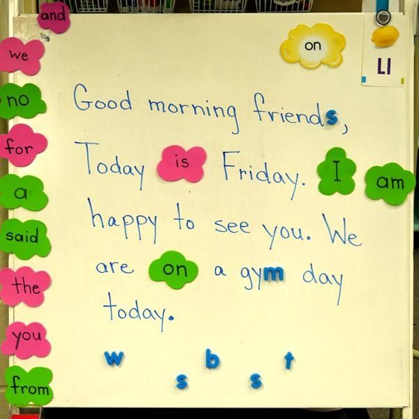 Concepts of Print: Morning Message. This would be a valuable routine to include in a kindergarten classroom. The morning message can be an interaction between the teacher and students, where the teacher can model how one reads from left to right, top to bottom. Other concepts being taught, such as sight words and letter-sounds, can also be practiced. In the primary grades, spelling patterns and fluency can be incorporated into the morning message as well.