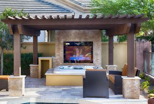 Transitional Hot Tub with Fence, Trellis, exterior tile floors