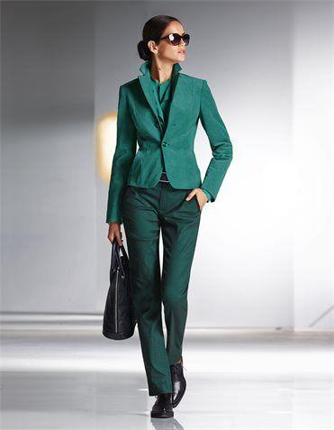 Trousers, Blouse, pure silk, Velvet blazer, Sunglasses, Lace-up shoes, Handbag