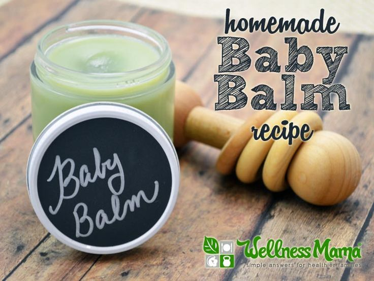 This natural homemade baby balm combines skin nourishing cocoa butter, shea butter, olive oil and castor oil with essential oils for a baby safe lotion.