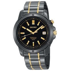 Men's Seiko Perpetual Calendar Black Ion-Plated Watch