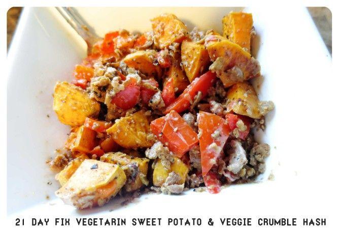Sweet Potato & Veggie Crumbles Hash – 21 Day Fix Vegetarian Recipe
