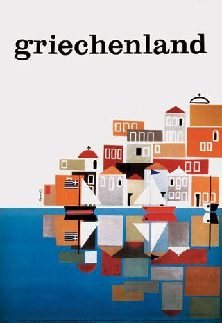 Frederick Vincent Carabott — Greece, German poster for the Greek Tourist Board (1961)