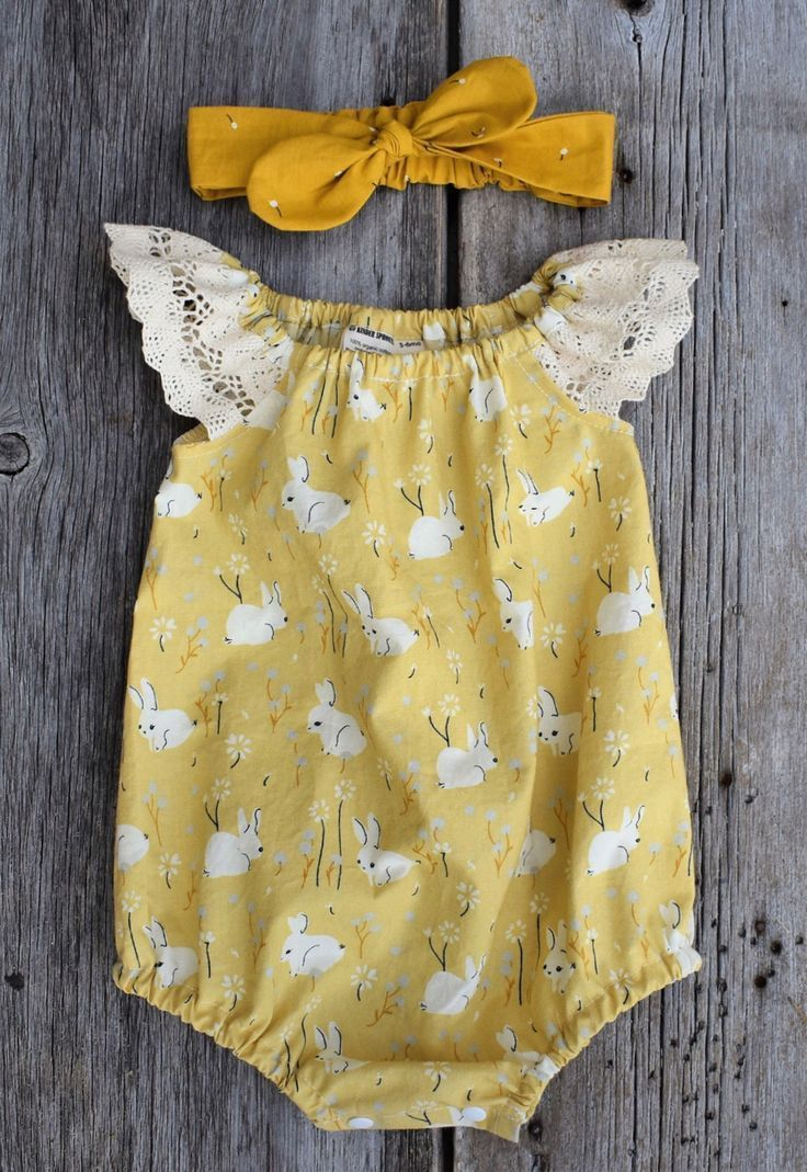 Handmade Bunny Print Baby Romper | KinderSprouts on Etsy  a current Pinterest tr…