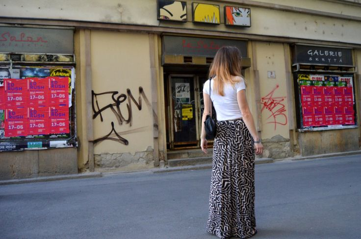 #ootd with #printed #maxi #skirt and #plain #white #tshirt