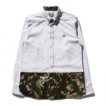 AAPE New Camo Stitching Long Sleeve Button Up Shirt (Gray) #aape #streetwear #streetfashion #fashion #urbanwear #longsleeves #buttonupshirt