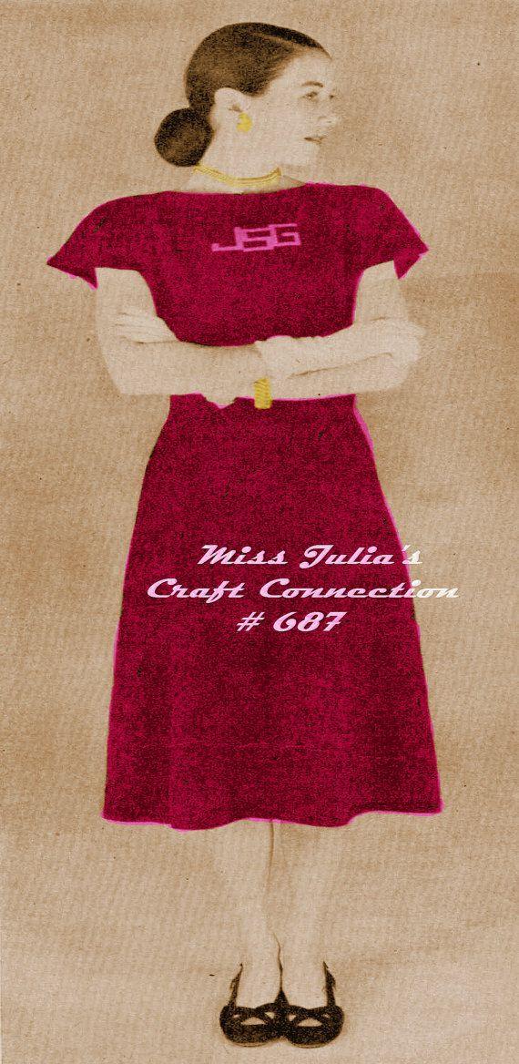 Vintage Vogue 1940s Monogrammed Cap Sleeve door OriginalsByMissJulia, $3.50