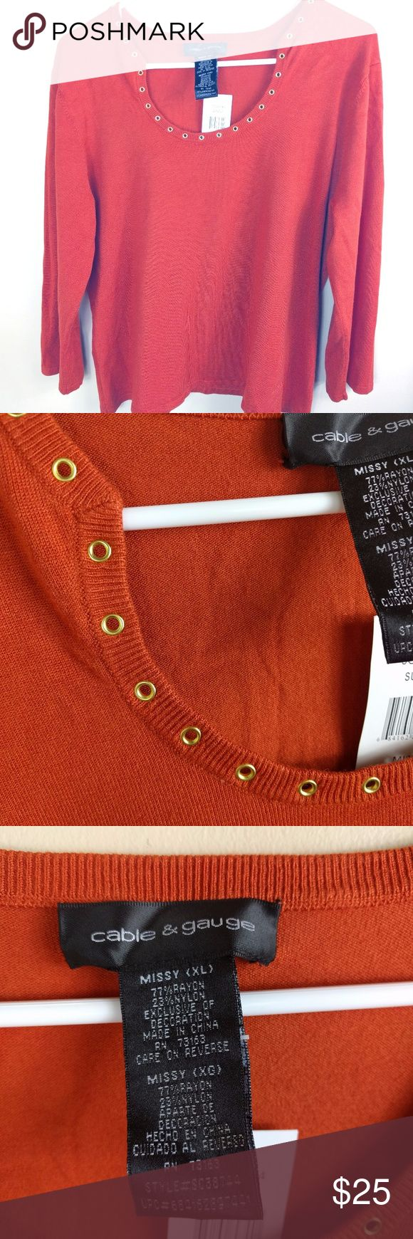 """Cable and Gauge Missy Knit Top Size Xl This stylish burnt orange 3/4 length sleeve shirt from Cable and Gauge is NEW with tags. The item also comes from a smoke free home. It features neat little metal eyelet holes around the collar and is very comfortable.  Flat lay measurements:  Chest 20""""  Waist 19.5""""  Sleeve Length 18""""  Shirt Length 22""""  I am happy to answer any questions you may have.                                    (J) Cable & Gauge Tops"""