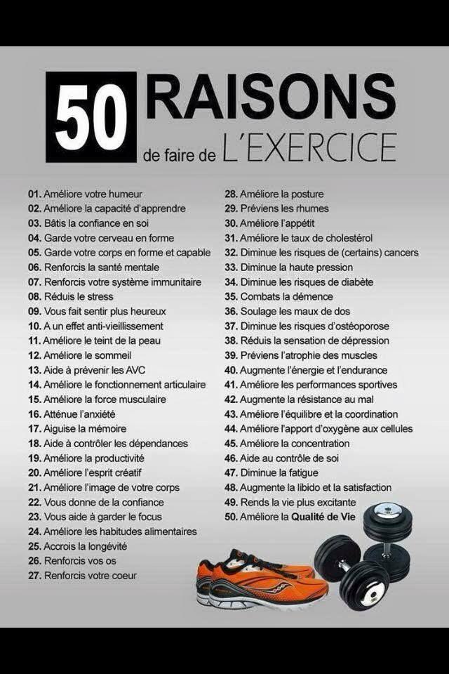 50 raisons de faire de l'exercice (Pour le mental et la santé physique)