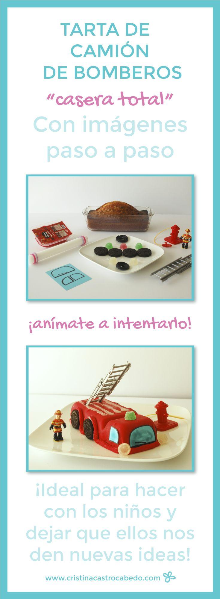 Cómo hacer una tarta de camión de bomberos super fácil. Con muchas fotos paso a paso. Ideal para hacer con los niños. Todo en http://www.cristinacastrocabedo.com
