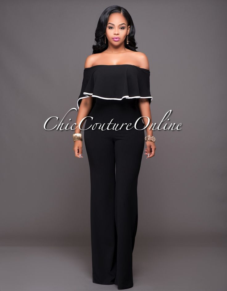 Chic Couture Online - Jacqueline Black Off-White Trim Cape Jumpsuit, $60.00 (http://www.chiccoutureonline.com/jacqueline-black-off-white-trim-cape-jumpsuit/)