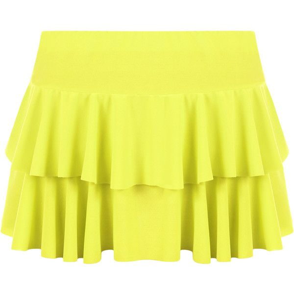 Presley Frill Mini Skirt ($14) ❤ liked on Polyvore featuring skirts, mini skirts, fluorescent yellow, flounce skirt, frilled skirt, short frilly skirt, yellow ruffle skirt and layered skirt