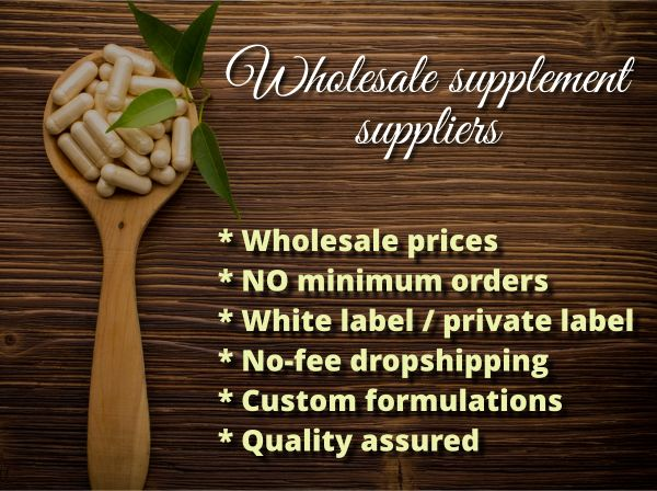 WHOLESALE SUPPLEMENTS SUPPLIERS:  Wholesale supplements * NO minimum orders * White label / private label * No-fee dropshipping * Custom formulas * Quality assured * UK-manufactured products. Click to find out more...