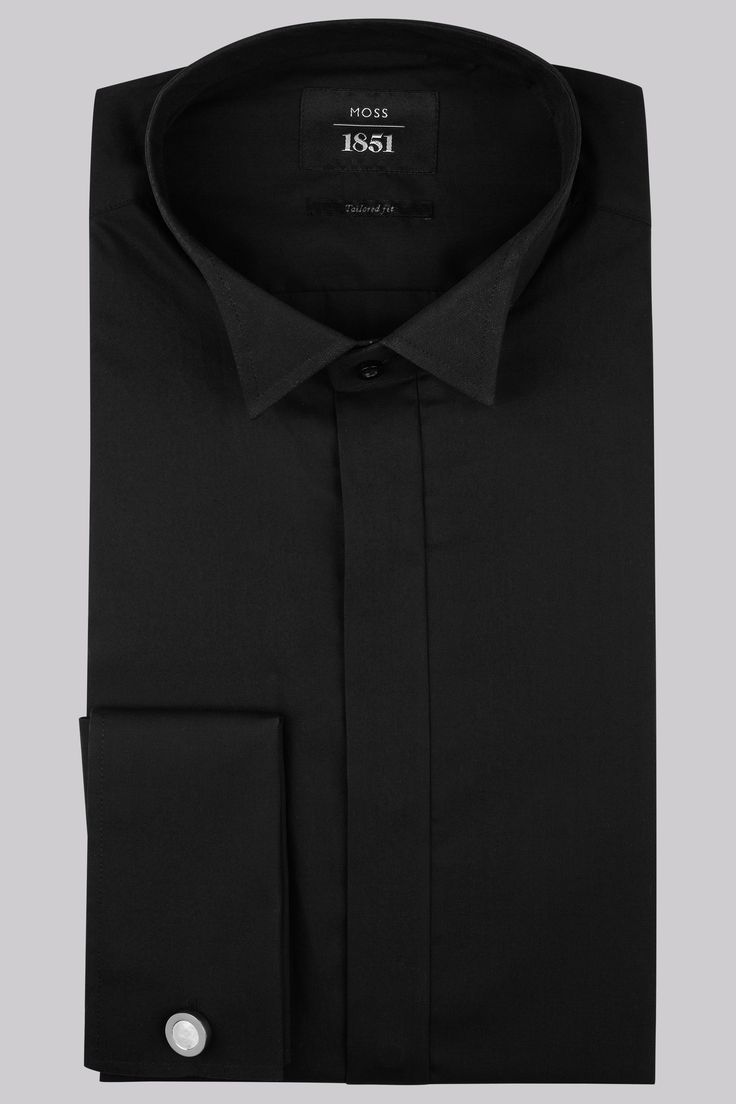 Moss 1851 Slim Fit Black Wing Collar Dress Shirt This Moss 1851 wing collar black dress shirt is pure cotton and has a plain wing collar. It is also double cuff shirt (also known as French cuff) and should be worn with a pair of cufflinks. Our Moss  http://www.MightGet.com/march-2017-1/moss-1851-slim-fit-black-wing-collar-dress-shirt.asp