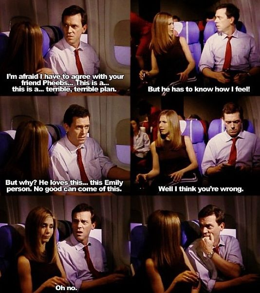 any episode featuring rachel on a plane is hysterical.