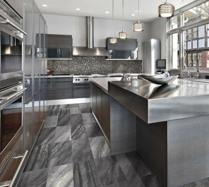 17 meilleures id es propos de cuisine avec sol en for Carrelage 45x45 gris