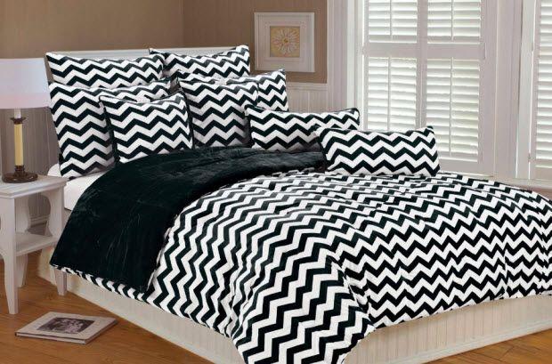 Black and white chevron bedding   WhereIBuyIt.com