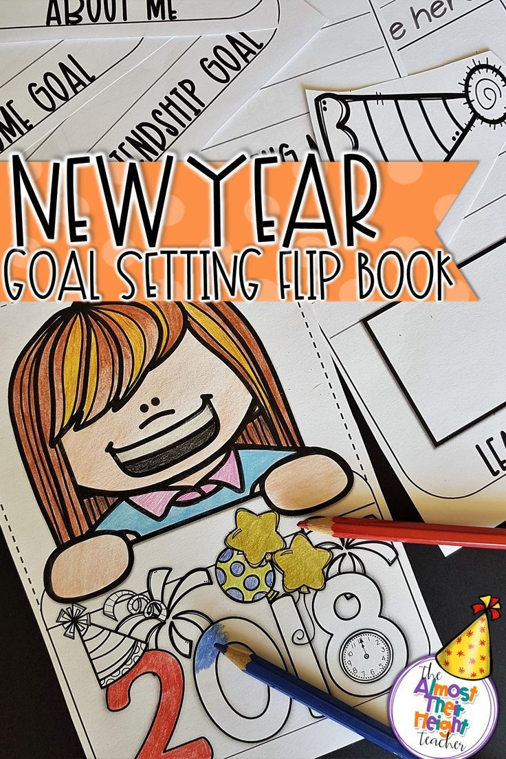 The New Year is nearly here. New Years is a great time for our students to stop and reflect on what they want to achieve over the next year.  This 2018 New Years resolution flip book is a great way to do just that.  There are a variety of pages to choose from to suit different age groups and for goal or goals to be set. #newyear2018 #resolutions #2018 #flipbook #goals #goalsetting