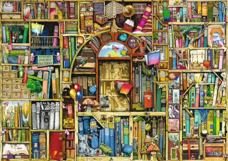 """Looking forward to working this Ravensburger puzzle called """"Bizarre Bookshop 2."""""""