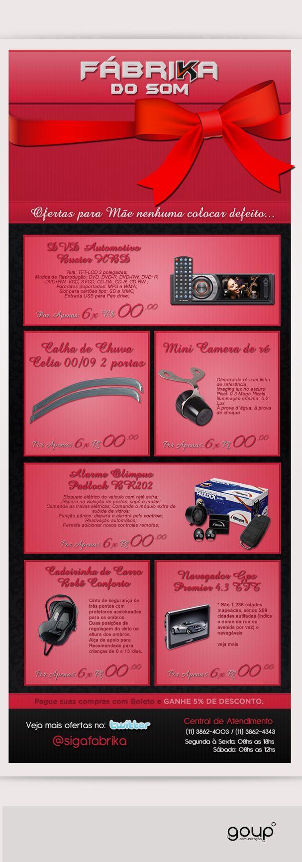 Campanha de dia das Mães Fabrikadosom.com.br