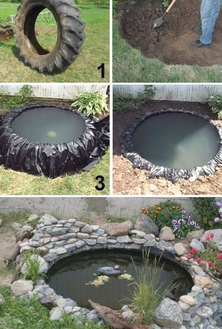 How to make a small DIY pond from a tire for your garden ...