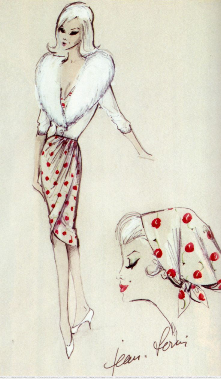 Jean Louis costume design sketch for Marilyn Monroe in The ...