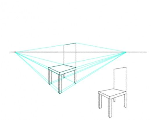 How to draw a chair in two point perspective