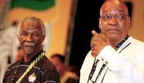 Former President Thabo (left) Mbeki and current President Jacob Zuma (right)