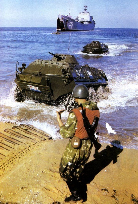 BTR-60 armoured personnel carriers of the soviet Naval Infantry.