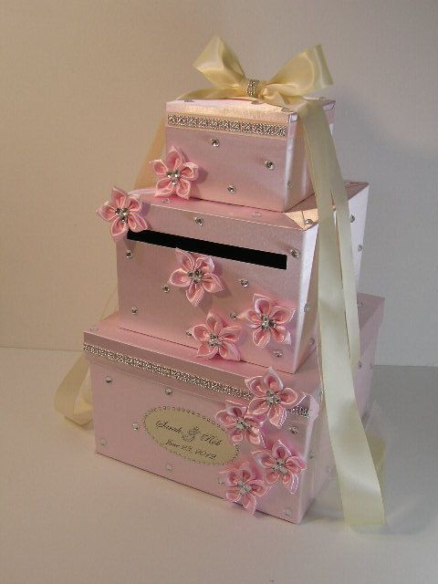 Champagne Wedding Card Box Gift Card Box Money Box Holder-Customize your color