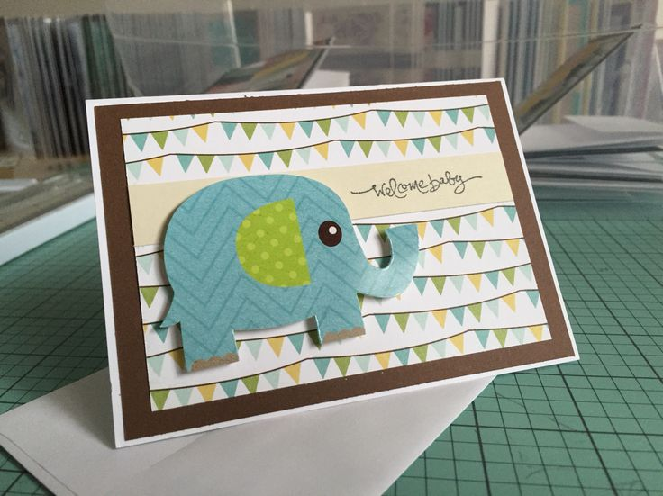 Elephant welcome baby card