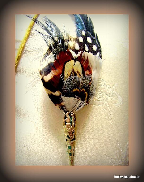 Pheasant Feather hat pin black white polka dot Zebra brown Grey stick pin