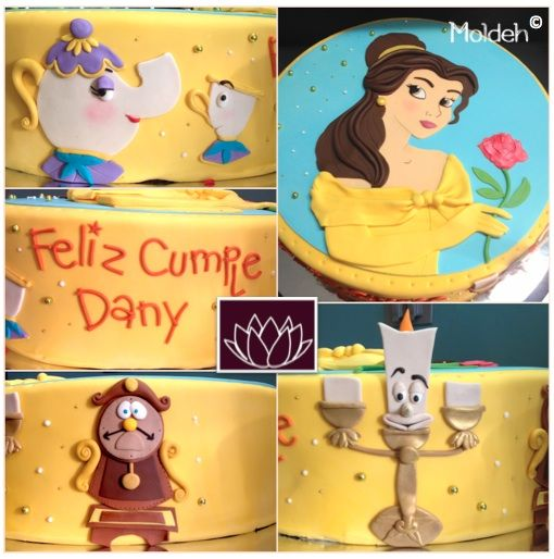 Pastel en fondant de Bella y Bestia / Beauty and the Beast fondant cake