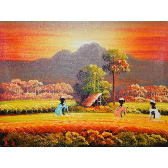 Lukisan abstrak motif pemandangan sawah  Panajang : 25 cm  Lebar : 20 cm  Bahan : Kanfas  Cocok digunakan sebagai penghias dinding anda,  Dan juga bisa sebagai benda pajangan di meja anda.