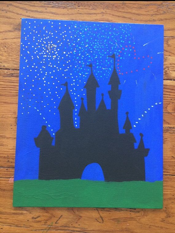 Cinderella S Castle Disneyworld Fireworks Painted On 11 X