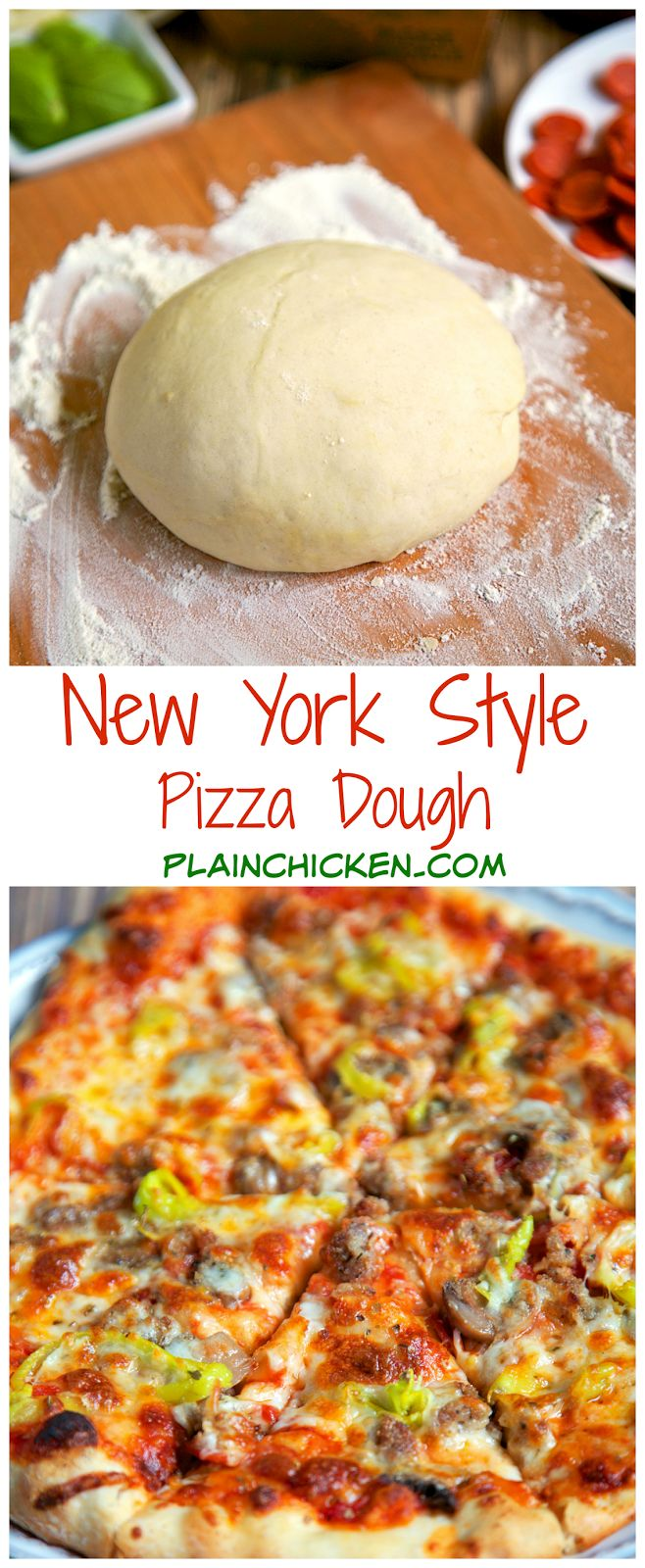 New York Style Pizza Dough Recipe ~ Only 4 ingredients to make the best pizza dough... This dough is so easy to work with! Make the dough and refrigerate until ready to use. Can make up to 3 or 4 days in advance - Great tips to make THE BEST pizza EVER! Better than any restaurant!