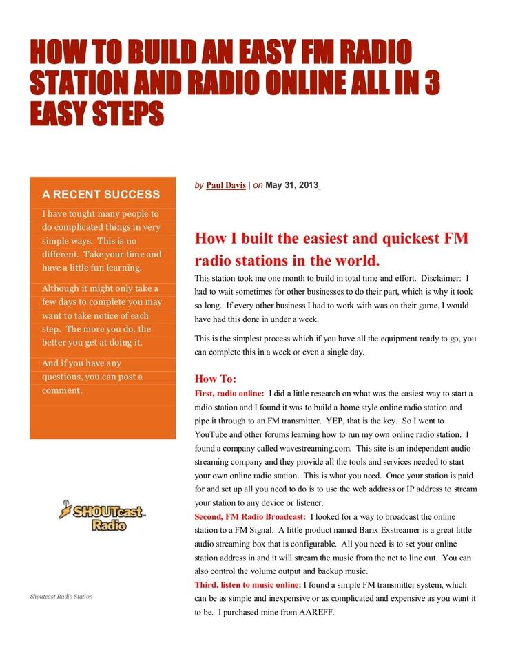 how-to-build-an-easy-fm-radio-station-and-radio-online-all-in-3-easy-step1-22230144 by mrpauldavis via Slideshare