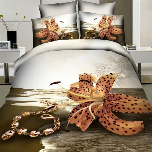 Best Quality 100% Cotton 3d Bedding Sets King/Queen Bed Sheet+Comforter Cover+Pillow Covers Beach Flower Queen Size Duvet Cover Children Bedding From New_dv, $171.93| Dhgate.Com