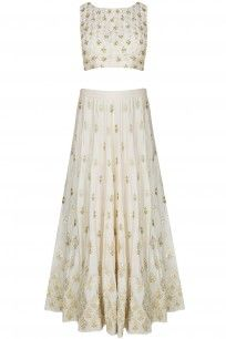 Off White And Gold Gota And Sequins Motifs Lehenga Set