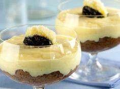 Receita de Mousse Olho-de-sogra - 300 g de ameixa preta sem caroço, 1 xícara (chá) de água, 1 lata de creme de leite sem soro, 2 claras batidas em neve, 1 lata de leite condensado, 50 g de coco ralado, 2 gemas, 1/2 xícara (chá) de leite, 1 xícara (chá) de chantily