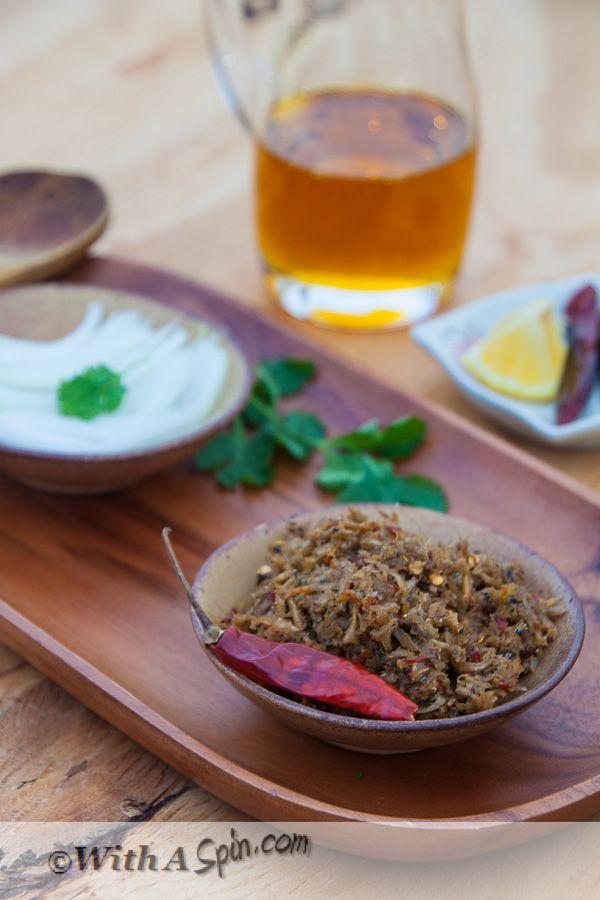 Shutki Bhorta - Fiery, flavorful dried shrimp mash.  Comfort food of Bangladesh.