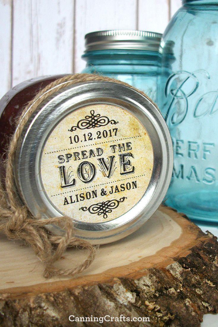 Vintage Rustic Spread the Love wedding labels, wedding favor jar labels printed with YOUR name & wedding date. CanningCrafts.com  #bridalshowerfavors #rusticwedding #vintagewedding