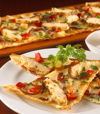 Garlic chicken Flatbread Appetizer at Seasons 52- find more appetizers, salads, entrees and even a fresh fruit mini indulgence on HealthyDiningFinder.com.