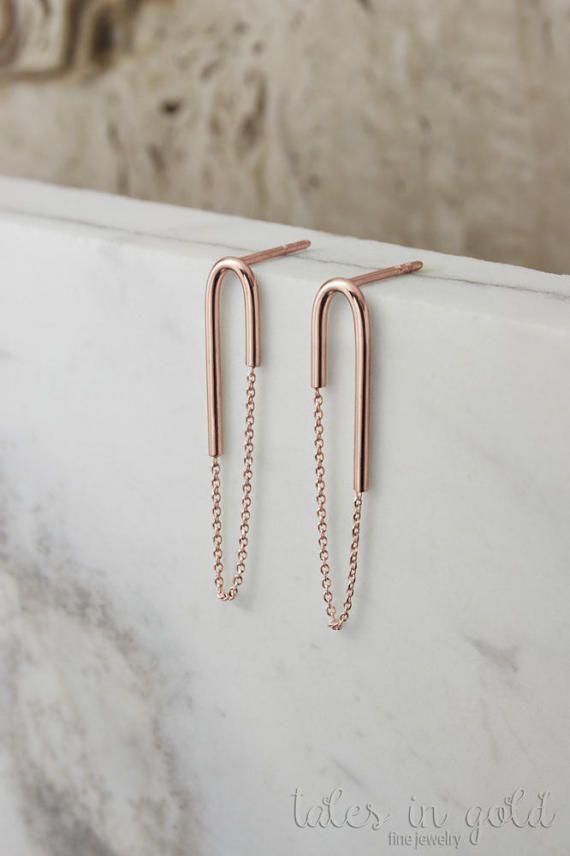 Gold Chain Earrings 14k Gold Earrings Rose Gold Long Gold