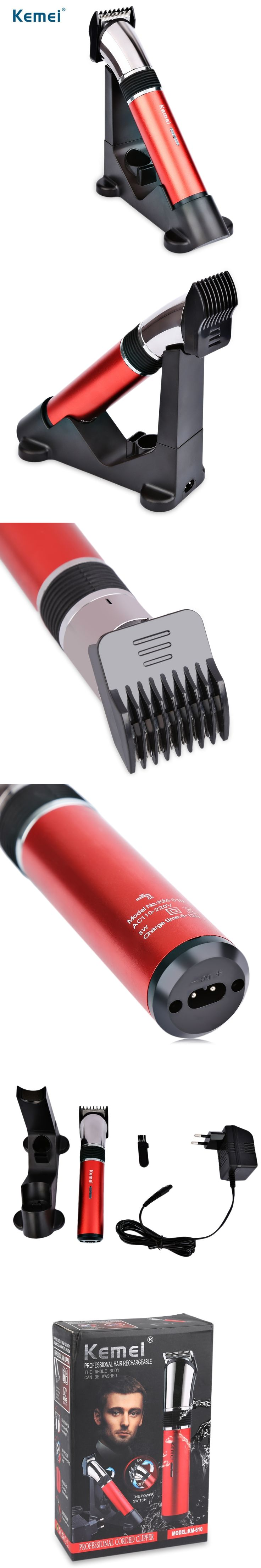 Kemei KM-610 Electric Washable Hair Clipper Professsional Rechargeable Hair Trimmer Beard Shaver Razor For Man EU Plug