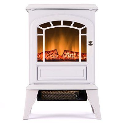 Aspen Free Standing Electric Fireplace Stove - 23 Inch White Portable Electric Vintage Fireplace with Realistic Fire and Logs. Adjustable 1500W 400 Square Feet Space Heater Fan